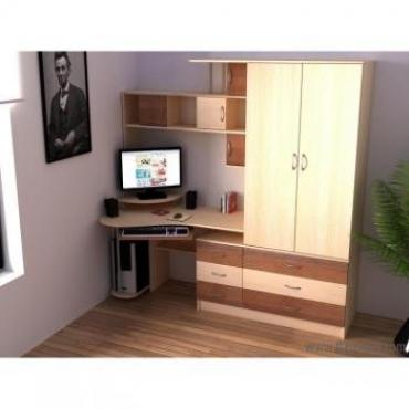 угловой компьютерный стол с надстройкой и шкафчиками купить