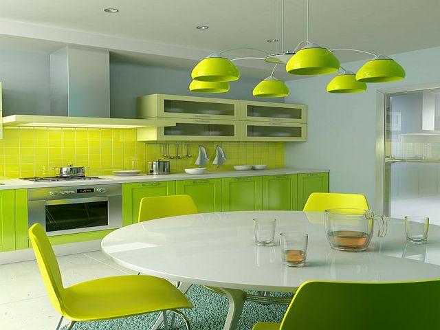 Фото дизайна небольшой кухни в салатных тонах